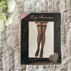 Plus Size Thigh High Fishnet Stockings w/ Lace Top